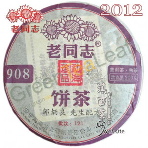 Шу Пуэр 908, Лао Тун Чжи (Старый товарищ), 2012 года, Юньнань, 200г