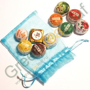 Набор китайского чая пуэр, 10 разных видов в мешочке
