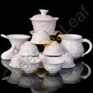 """Керамический чайный набор """"Дракон"""" (гайвань, ча хай, 10 чайных чашек, сито и аксессуары)"""