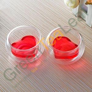 """Китайская чаша для чаепития, двойное стекло, форма дна """"Сердце"""""""